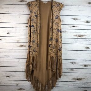 Love Fire medium faux suede boho long fringe vest